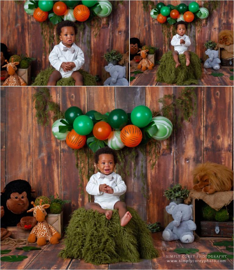 Carrollton baby photographer, one year safari theme in studio