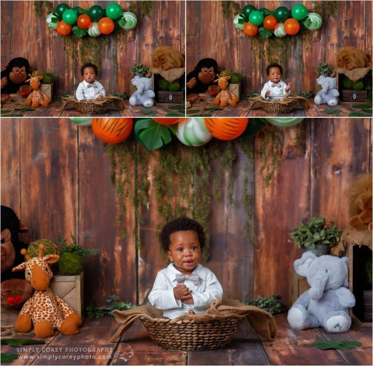 Douglasville baby photographer, studio safari theme for one year old