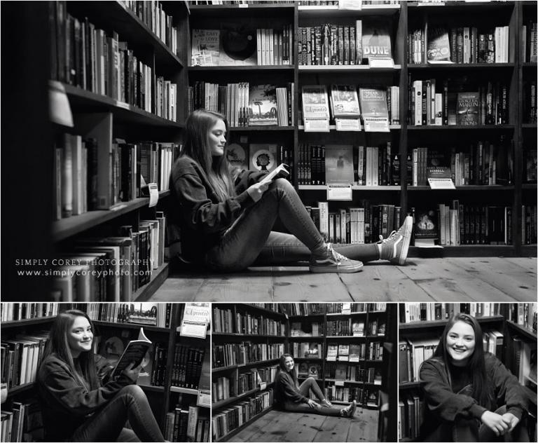 West Georgia senior portrait photographer, teen in Carrollton bookstore