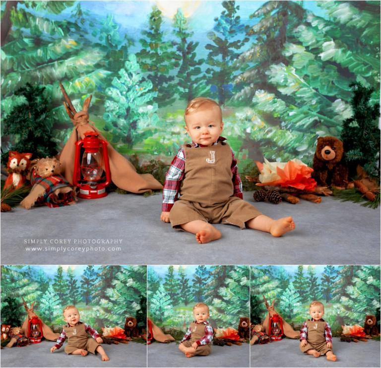 Villa Rica baby photographer, one year session with studio camping theme