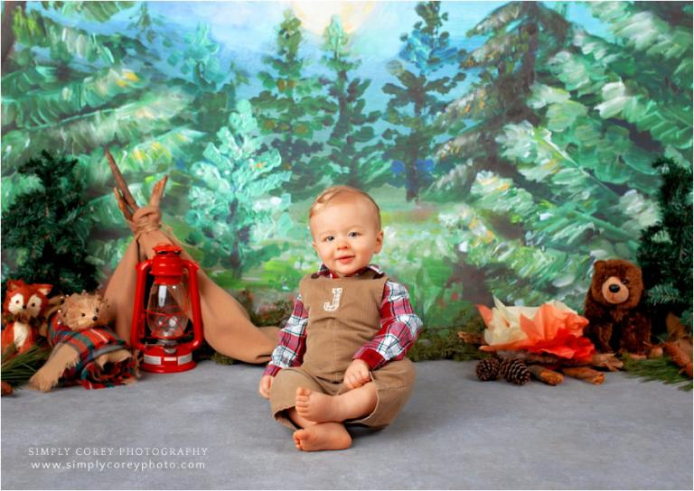 West Georgia baby photographer, camping theme studio photography