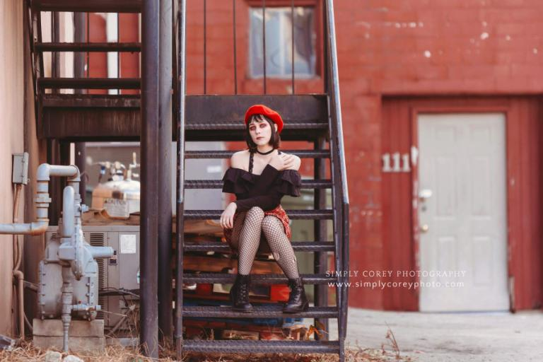Atlanta photographer, young lady with punk fashion during urban session