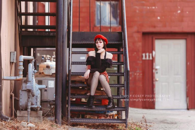 Carrollton, Georgia photographer; punk fashion session downtown on stairs