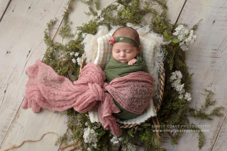 Atlanta newborn photographer, baby girl with pink and green studio set