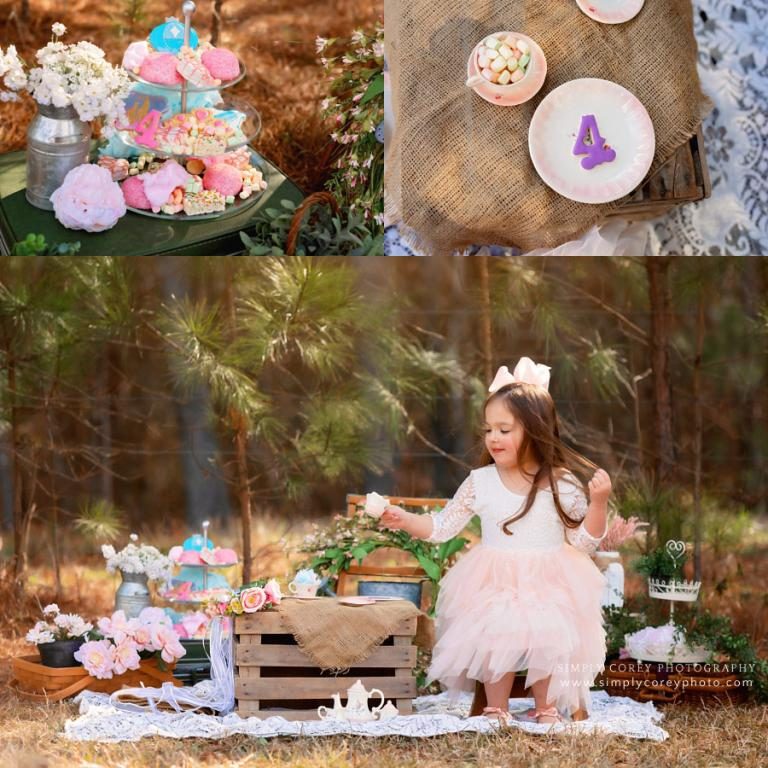 Atlanta photographer, child having a tea party outside with sweets