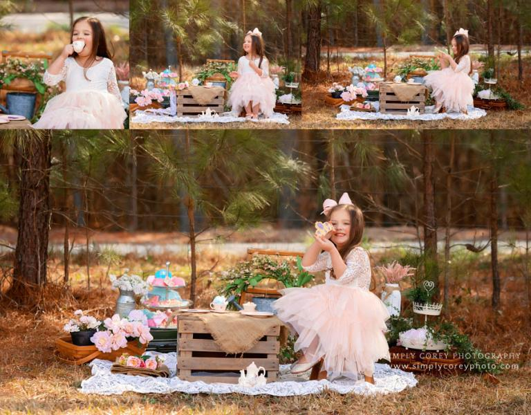 Douglasville photographer, child having tea party outside with treats