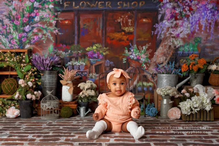 Atlanta baby photographer, flower shop spring mini session
