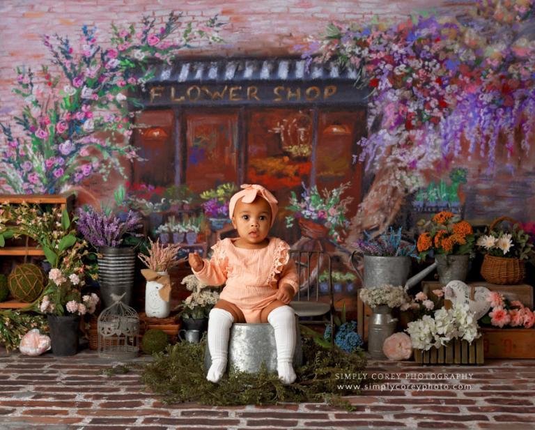 Atlanta baby photographer, spring flower shop studio set