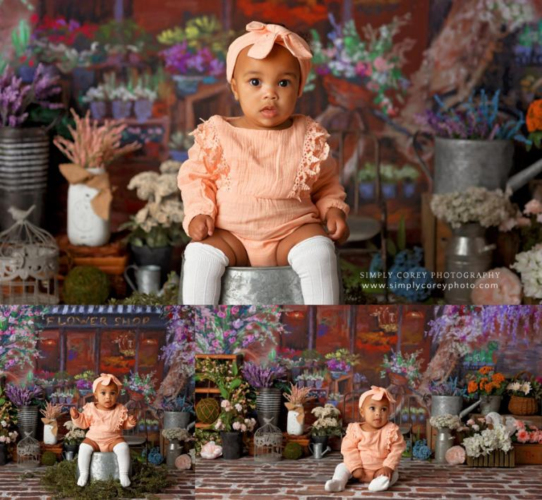 Douglasville baby photographer, flower shop studio set for spring