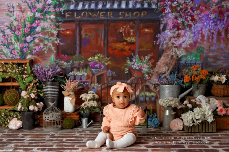 Newnan baby photographer, studio session with flower shop set
