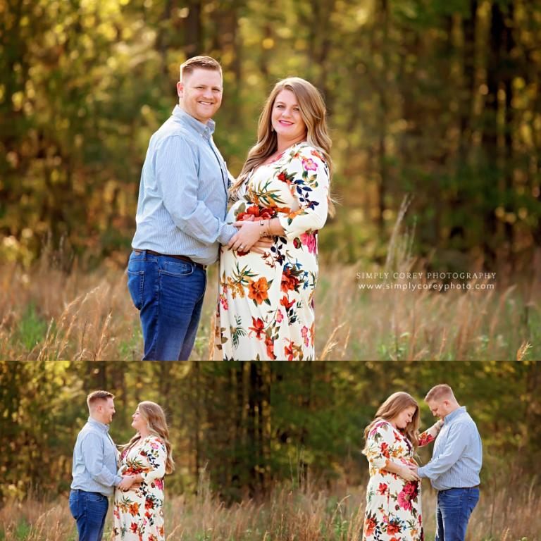 Douglasville maternity photographer, couple in field with tall grass