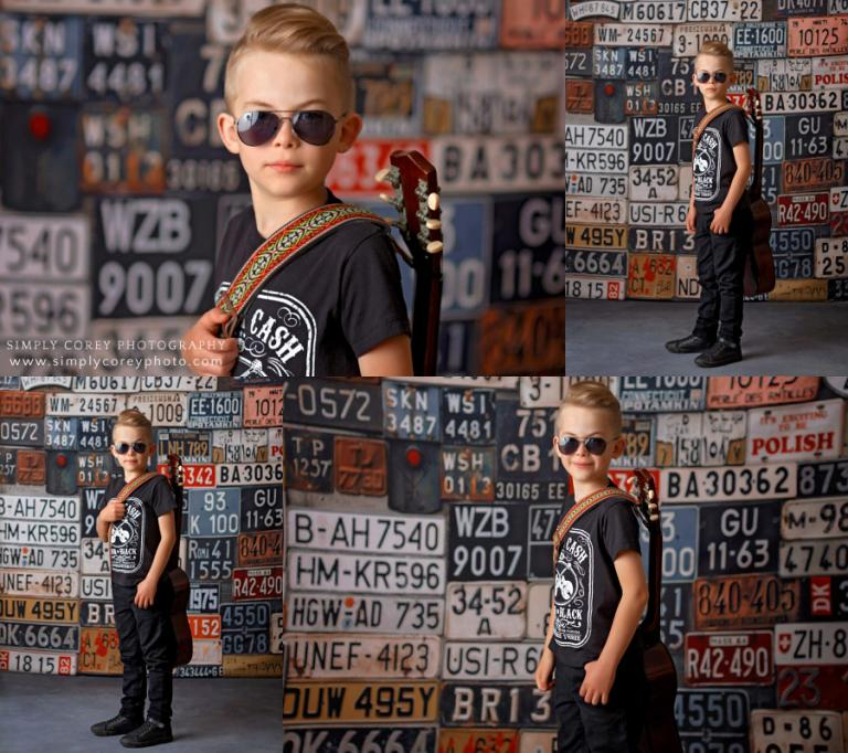 Carrollton, Georgia photographer; child in sunglasses with guitar in studio