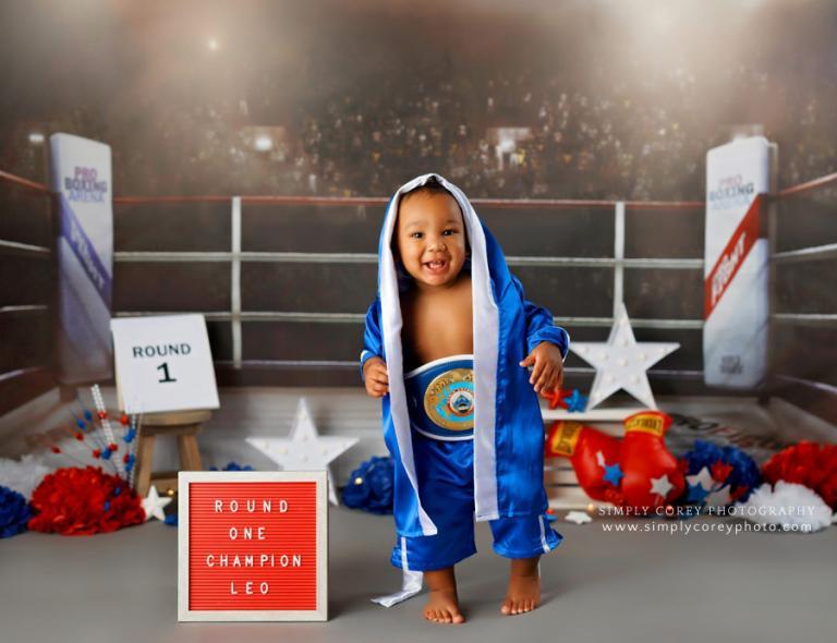 Atlanta baby photographer, cake smash session with a boxing ring set