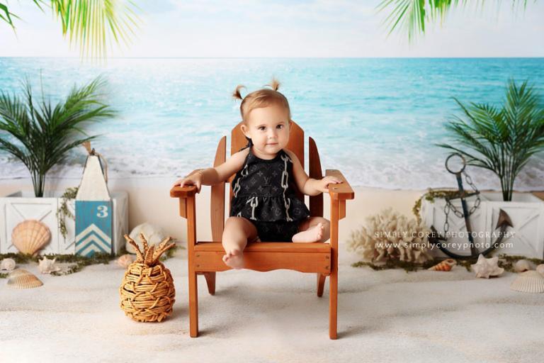Atlanta baby photographer, beach session with Louis Vuitton bikini