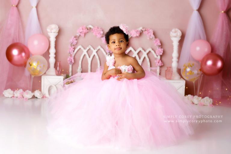 Villa Rica baby photographer, girl in pink tulle dress in studio